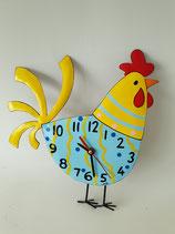 Uhr Huhn blau gelb