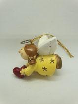 Engel klein gelb mit Herz Aufhänger