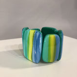 Grün/blau/gelbes Armband gestreift