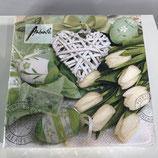 Tulpen weiß/grün - Servietten