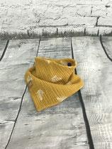 "Musselin-Tuch ""Federn auf gelb"""