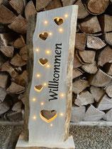 Holzschild - Eingangsdeko mit LED-Beleuchtung