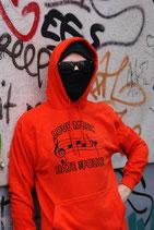 """Kapuzenpulli (Orangerot) """"Musiknoten ACAB"""""""