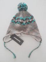 Bonnet tricot gris jacquard avec pompon 3 Pommes