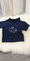 AHOI - T-shirt dunkelblau mit Wal-Stickerei