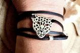 Bracelet simili cuir marron ébène et estampe TIGRE