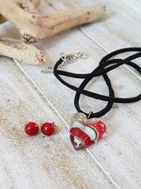 Herz-Set rot/graugrün