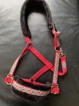 Hochwertiges rotes Halfter mit Webband Pinwheel Zinnia, rot - schwarz - beige