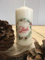 Premium Kerze mit Kranz und Überschrift Glaube