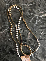 Gold long beaded necklace