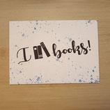 """Lesezucker Postkarte """"I love Books"""""""