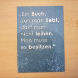 """Lesezucker Postkarte """"Ein Buch, das man liebt..."""""""