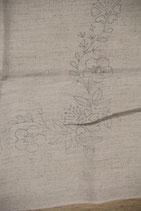 Leinen / Baumwoll Tischdecke zum Besticken mit Blumenmotiv DDR