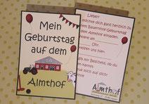 Einladungskarten für einen Geburtstag auf dem Bauernhof
