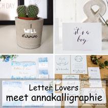 Letter Lovers: annakalligraphie mit einer Anleitung für Lettering auf einem Betonblumentopf