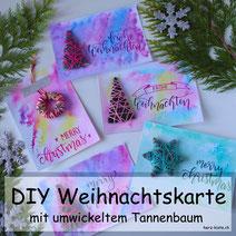 DIY Anleitung für eine selbstgemachte Weihnachtskarte - Karte zu Weihnachten selber machen mit einem umwickelten Tannenbaum