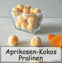 Rezept für leckere und selbstgemachte Aprikosen-Kokos Pralinen. Einfach, schnell und gesund.