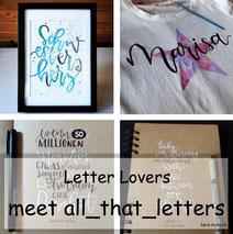 Letter Lovers: all_that_letters zu Gast im Lettering Interview mit einer Anleitung für Lettering auf T-Shirt