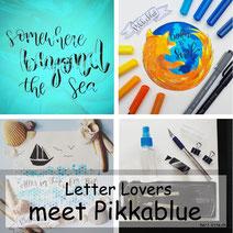 Letter Lovers pikkablue mit Anleitung zum Noppenfolienhintergrund
