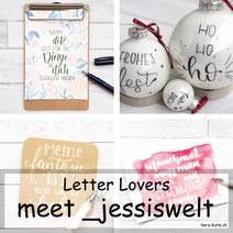 _jessiswelt zu Gast bei den Letter Lovers im Lettering Interview mit einer DIY Anleitung um Weihnachtskugeln zu belettern