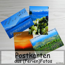 Postkarten aus Ferienfotos - mit Handlettering gestalten