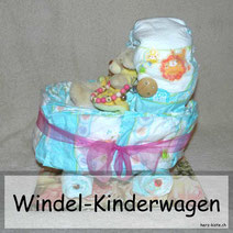 Windeltorte mal anders: Ein DIY Windel-Kinderwagen als Geburtsgeschenk