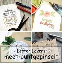 Letter Lovers - buntgepinselt zu Gast mit einer Anleitung für lockere Aquarellblumen
