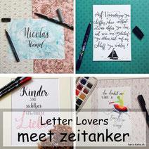 Letter Lovers: zeitanker zu Gast in der Herz-Kiste mit einer Anleitung für die Rasierschaumtechnik als Lettering-Hintergrund