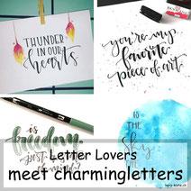 Letter Lovers: charmingletters zeigt ein Feder Blending und plastische Buchstaben