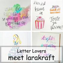 Letter Lovers - larakraft mit einer Anleitung für Watercolor Hintergründe