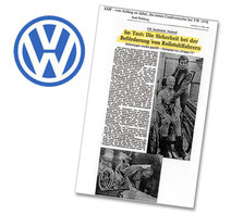 Newspaper article about successful crash test with AMF-Bruns wheelchair restraints in cooperation with Volkswagen