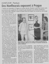 Article de presse sur l'exposition d'artistes honfleurais à la galerie Idea de Prague (2013)