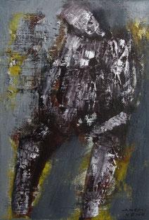SItting man 22.7×15.8cm Oil oncanvas