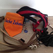 Leine, Halsband mit Halstuch & Marke, Geschirr & Schleppleine