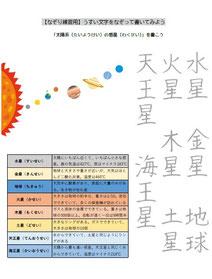 硬筆教材・チャレンジコース、なぞり書き、太陽系の惑星