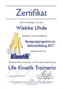 Zertifikat Life Kinetik Wiebke Uhde