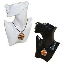 Halskette mit Holzmedaillon neu rund
