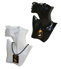 Halskette mit Holzmedaillon rechteckig oder oval