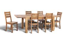 Ansicht Eichentisch mit Ansteckplatten und Holzstühlen