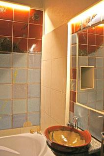 carrelage et lavabo sur mesure