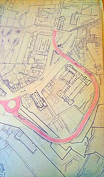 Le boulevard projeté autour du lycée de Saint-Just (Source : AML 937WP/2. Communiqué par Josette Frolon)