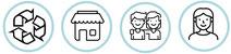 Con esta compra contribuyes a: reciclaje y sostenibilidad, comercio local y pequeño comercio, integración, igualdad, mujer