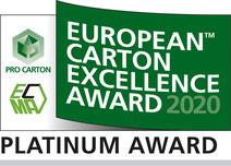 Ausgezeichnet: Innovative Verpackung für Ampullen, Faltschachtel Kartonverpackung - mit Mehrwert. von www.rattpack.eu -  Siegel der ECMA 2020 Platinum