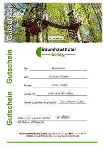 Wertgutschein Übernachtung Baumhaushotel Solling