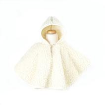 poncho enfant en laine naturelle de mouton blanc cassé garçon fille