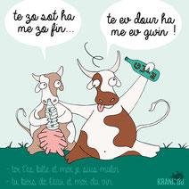 expression bretonne : Te zo sot ha me zo fin .. Te ev dour ha me ev gwin > toi t'es bête et moi malin ... Tu bois de l'eau et moi du vin citation bretagne dessin image illustration graphiste brest illustrateur finistère