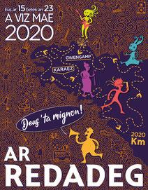 ar redadeg 2020 deus ' ta mignon ! affiche logo communication course pour la langue bretonne graphisme breton bretagne brezhoneg carhaix guingamp karaez gwengamp