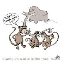 expression bretonne : Sellit'Ta, hennezh zo hir e fri ! > Regardez! celui-ci a le nez long > il est un peu trop curieux citation bretagne dessin image illustration graphiste brest illustrateur finistère