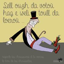 expression bretonne : Sell ouzh da votoù hag e weli toull da loeroù > Regarde bien tes chaussures et tu verras le trou de tes chaussettes > Balayes devant ta porte avant de balayer celles des autres citation bretagne dessin image illustration graphiste
