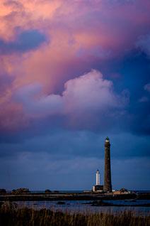 Plouguerneau, Phare de l'ïle Vierge, ciel au crépuscule coucher de soleil